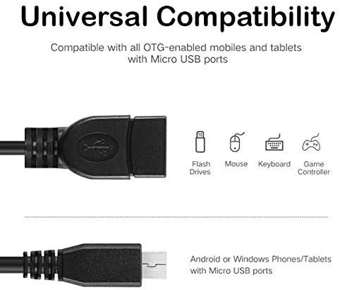 Micro USB to OTG Works with Sony E5306 Direct On-The-Go Connection Kit and Cable Adapter! Black