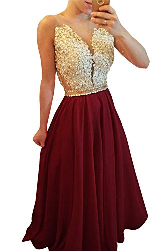 Jazylynbride Gorgeous A-line Beading Crystals Long Prom Dress V-Neck Sleeveless Applique Evening Gown ()