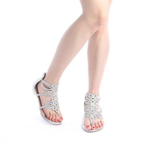69a5c87b7 DREAM PAIRS Women s Jewel Rhinestones Design Ankle High Flat Sandals ...