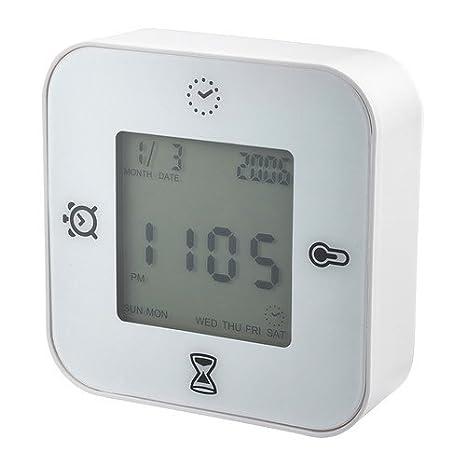 IKEA KLOCKIS - Reloj / termómetro / alarma / temporizador, blanco: Amazon.es: Hogar