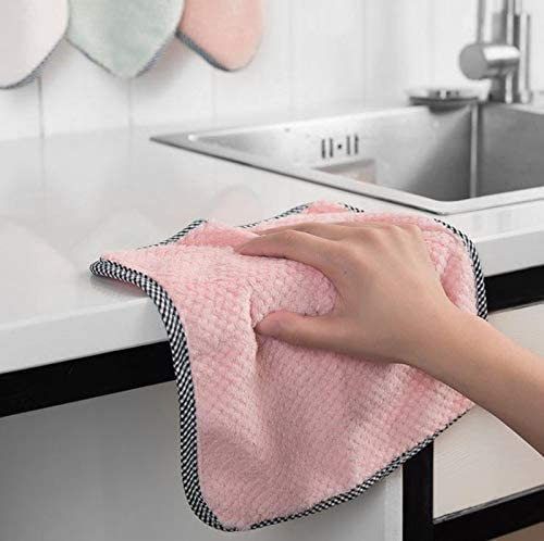 4 pcs Microfiber Cleaning Cloth Absorbent Kitchen Dishcloth Textile Tableware Towel Cotton Scouring Pad Rag Wiping Tools