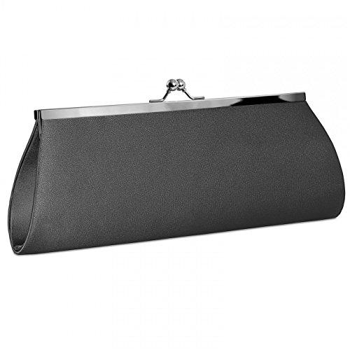 Dark Evening Elegant Clutch Clasp colours Classic Grey Satin Metal CASPAR TA309 with Bag Womens many pISOwSxqZ