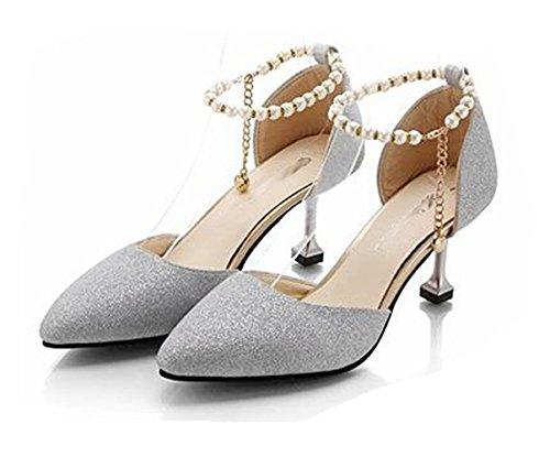 Ein bißchen 2018 Damen Elegant Knöchelriemchen mit Perle Hochhackige Schuhe Silber