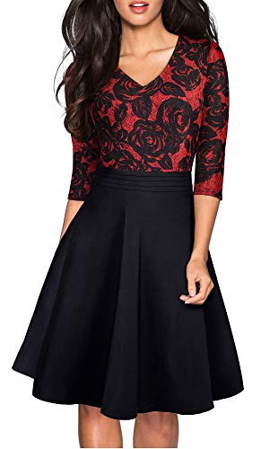 HOMEYEE Women's Chic V-Neck Lace Patchwork Flare Party Dress A062 (10, Red+Black Fabric B)
