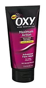 OXY Acne Medication Maximum Action Advanced Face Wash, Advanced Face Wash 5 oz (Pack of 2)