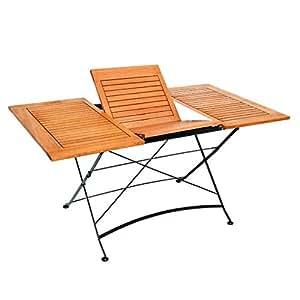 Tradicional extensible jardín mesa de comedor–plegable Desgn–galvanizado soporte de acero y madera construcción