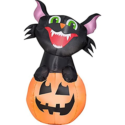 Airblown Inflatable Outdoor Friendly Halloween Characters - 3.5 ft Tall (Pumpkin Cat) by Gemmy - Friendly Cat