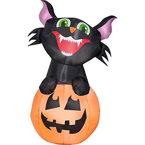 Airblown Inflatable Outdoor Friendly Halloween Characters - 3.5 ft Tall (Pumpkin Cat) by Gemmy