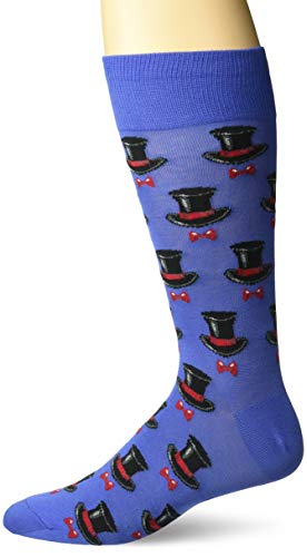 (Hot Sox Men's Wedding Bliss Novelty Casual Crew Socks, Top Hat and bow tie (blue), Shoe Size: 6-12)