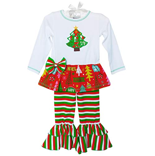 AnnLoren Little Girls' Christmas Tunic & Candy Cane Striped Ruffle Pants Holiday Outfit 4-5T 4T Red Green (Annloren Christmas Tree Outfit)