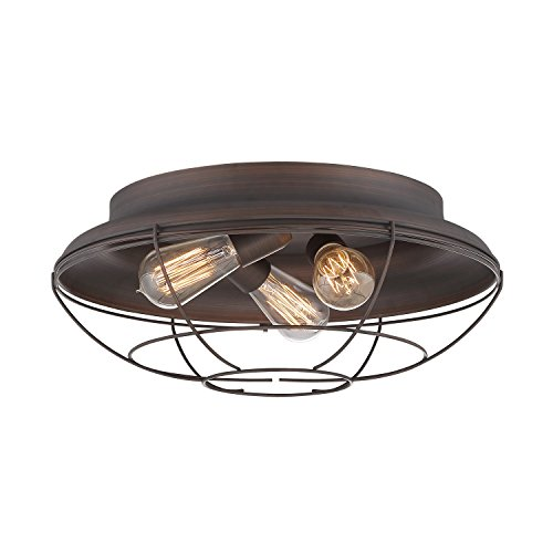 Millennium Lighting 5387-RBZ Millennium:Three Light Flushmount Neo-Industrial 3-Light Flush Mount in Rubbed Bronze by Millennium Lighting