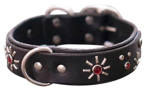 """Paco Collars - """"Agnes Deluxe"""" - Handmade Leather Large Dog Collar - 1.5""""Wide - Silver - Brown 16""""-18"""""""