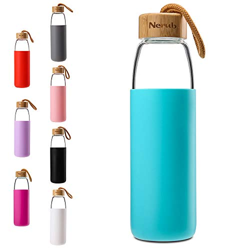 NERUB 18 OZ BPA Free Borosilicate Thick Glass Water Bottle with Bamboo Lid and Silicone Protective Sleeve – Dishwasher Safe (Mint Green)