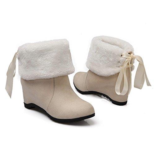 COOLCEPT Damen Fransen Warm Gefütter Keilabsatz Mitte der Wade Herbst-Winter Schneestiefel Schuhen mit hohen Absätzen Aprikose