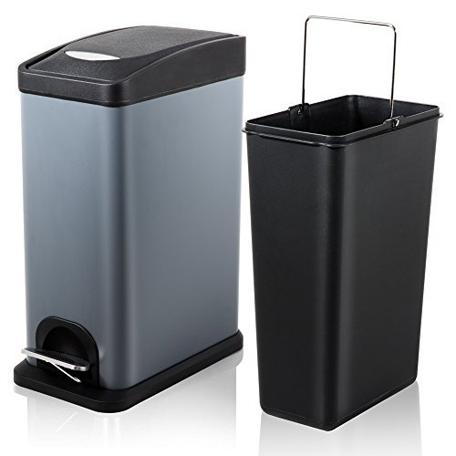Fortune Candy Slim Rectangular Step Trash Can,Small Carbon Steel Trash Can with Lid and Removable Inner Wastebasket for Bathroom Bedroom Office,2.1Gal/8L,Gray