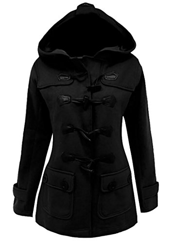 X-Future Women Winter Wool Blended Pockets Buttons Warm Loose Hooded Pea Coat Black XL