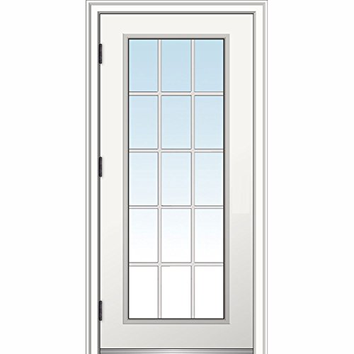 National Door Company ZZ364606R Steel, Primed, Right Hand Outswing, Prehung Door, 15 Lite, Clear Glass, External Grilles, 32
