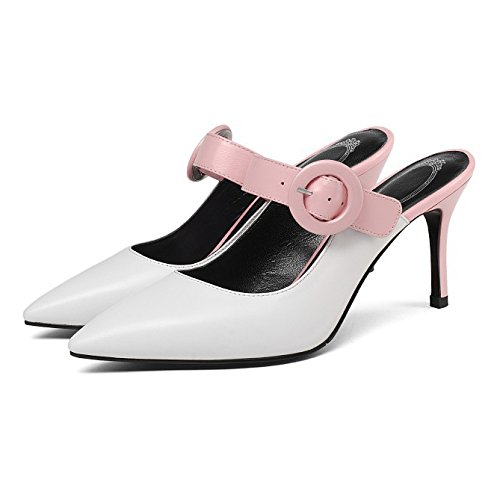 Summer New Womens High-heeled Sandals Buckle Slingback Slippers Pointed Toe Shallow Shoes White 5rBmi