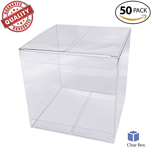 Clear Plastic Favor Boxes 2x2x2 inches by CLEARBOX . 50 PACK. Crystal Clear Easy to Fold boxes. Quality Non-Cracking (Clear Boxes For Wedding Favors)