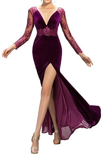 mit Langarm Abendkleider Ausschnitt V Rueckenfrei Ivydressing ...