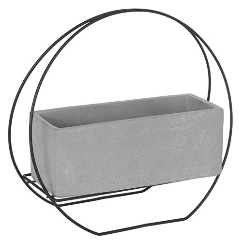 - 9-Inch Cement-Gray Rectangular Succulent Planter Pot with Modern Black Metal Wire Framework Stand