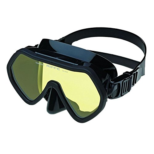 Riffe Frameless Mask for Freediving and Spearfishing (Black w/Clear Lens)