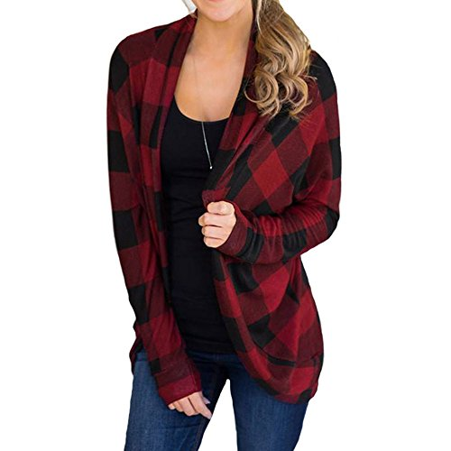 Plaid Horseshoe - Faionny Women Plaid Irregular Cardigan Full Sleeve Blouse Coat Winter Tops Outwear