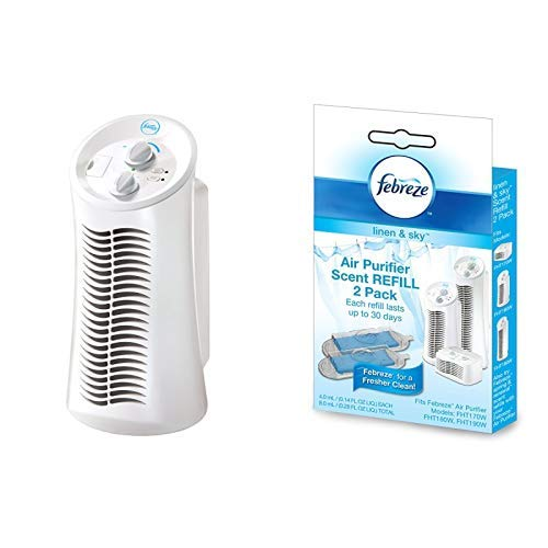 Febreze FHT180W  HEPA-Type Mini Tower Air Purifier with Scent Refill, Linen and Sky, 2-Pack FRF102L