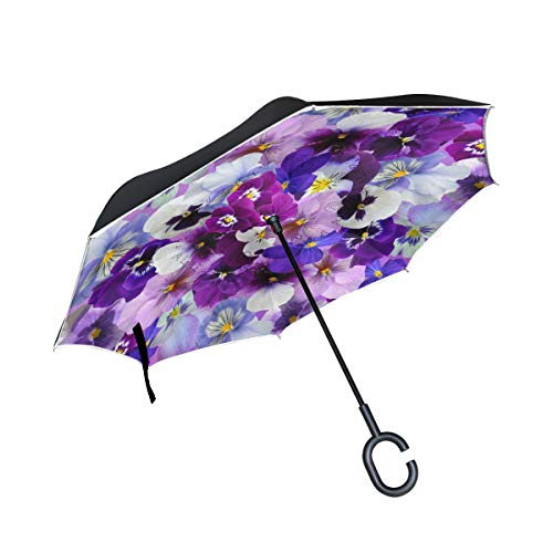 Pansy Purple Flower Blossom Inverted Umbrella Double Layer Reverse Folding Umbrella with C-Shaped Handle UV Protection Windproof for Car Outdoor