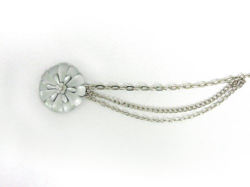 Women's Grey Daisy Flower Buckle on Layered Silver Quality Metal Chain Belt