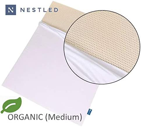 Certified Organic 100 Natural Latex Mattress Topper – Medium Firmness – 3 Inch – King Size – Organic Cover Included.