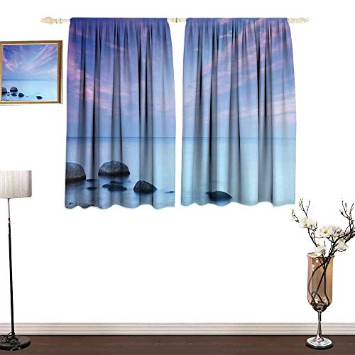 Thermal Curtains Seaside Decor Baltic Sea Coast Autumn Sunset Evening View Boulders on Water Tourism Picture Soft Texture W55 xL39