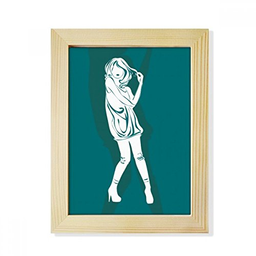 DIYthinker Silhouette Girl Beautiful Woman Desktop Wooden Photo Frame Picture Art Painting 6x8 inch by DIYthinker