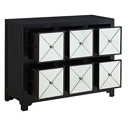 Powell Company Mirrored 6-Drawer Wood Console, Black