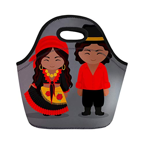 Semtomn Neoprene Lunch Tote Bag Gypsies in Traditional Costume Romany Man and Woman Boy Reusable Cooler Bags Insulated Thermal Picnic Handbag for Travel,School,Outdoors, Work -