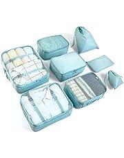 Packing Cubes Kofferorganizer, set van 8 stuks, blauw en groen