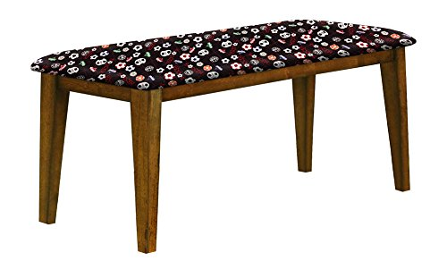 """Oak Finish 19"""" Tall Universal Bench Featuring a Padded Seat Cushion With Your Favorite Novelty Themed Fabric (Soccer) by The Furniture Cove"""
