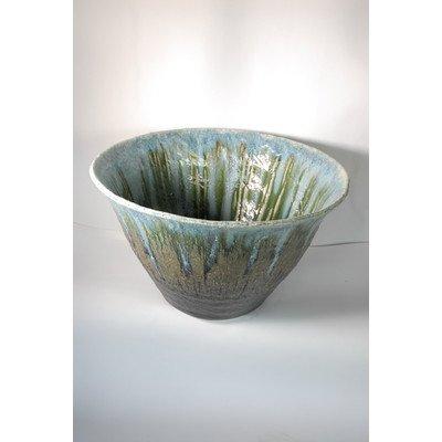 風の水琴工房 緑ガラス水鉢 20号 - 信楽焼 B0777VNSMC
