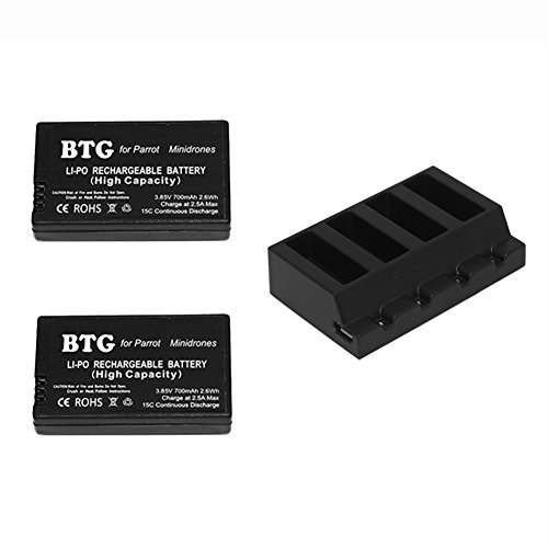 LiPo Battery & 4in1 Multi Charging Hub for Parrot Mini Drones Jumping Sumo, Rolling Spider, Air Night, Airborne Cargo, Jumping Race, Jumping Night, Hydrofoil, Mambo, Swing ()