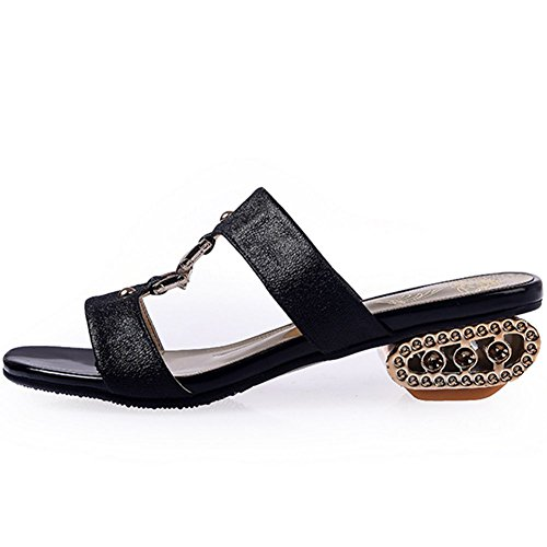 Women's Square Sandals DoraTasia Low Beach Open Toe Rhinestone Summer Black Slip Slide on 3 Shoes Heel Slingback Slipper 8qqdxnC