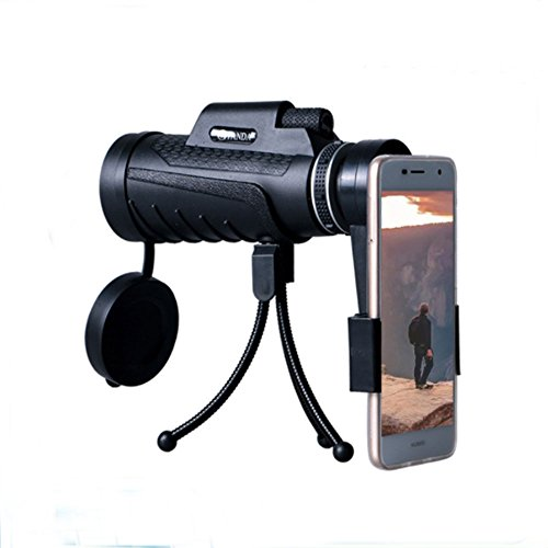Monocular Telescope, 40 x 60 Dual Focus Waterproof Spotting Scopes, HD View Scope Telescopes with Phone Clip and Tripod for Cell Phone-for Bird Watching, Hunting, Camping, Hiking, Outdoor, Travelling (Power Telephone Clip)