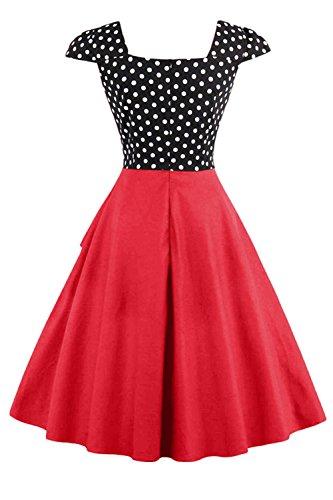 Verano De Mujer Polka Dot Patchwork Cocktail Swing Vestido De Fiesta Red
