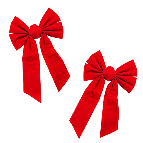 (Red Velvet 6 Loop Bow for Wreath Decorations, Gifts & Presents Wrapping, Hanging Door Decor with Wire, Christmas Tree, Party Supply (9
