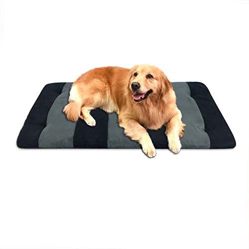 (B&G Fashion Stripe Design Dog Bed Durable Dog Mat, Soft Dog Pad, Machine Washable and Clean Easy - Gray&Black Zebra(35 inch by 23 inch))