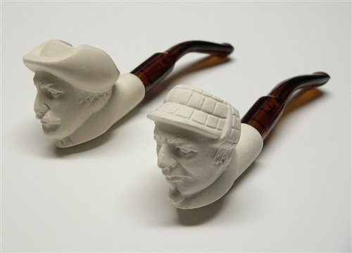 Mini Hand Carved Holmes & Watson Meerschaum Pipe Set