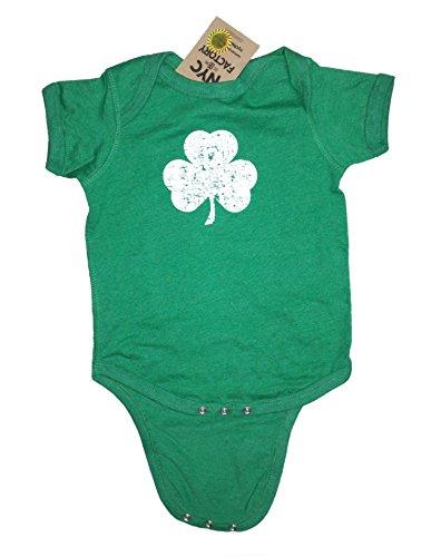- NYC FACTORY Screen Printed Distressed Shamrock Baby Bodysuit 6m 12m 18m 24m Irish Green (12m)