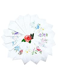 COCOUSM Womens White Cotton Small Handkerchiefs Lace Wedding Hankies Bulk