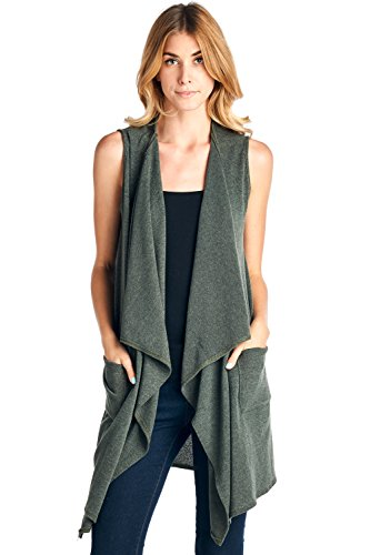 12 Ami Knit Drape Front Long Pocket Vest - Made in USA