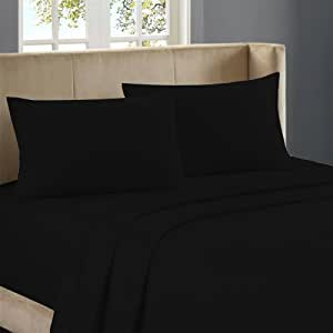 Nile Bedding Egyptian cotton 23 Inches Deep Pocket Sheet Set 650 TC Solid (Cal-King , Black)