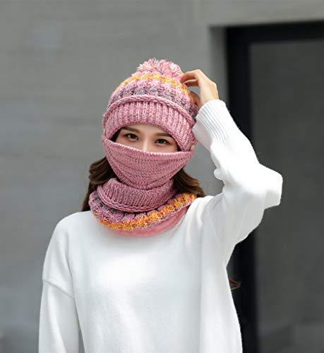 Bonnet Acmede Couleur Pour Masque Chaud Femme Écharpe 4 De Tricotée En L'hiver Doublé Velours Et gawapdq